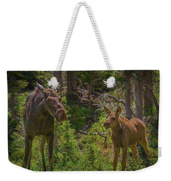 Mom And Baby Moose Weekender Tote Bag