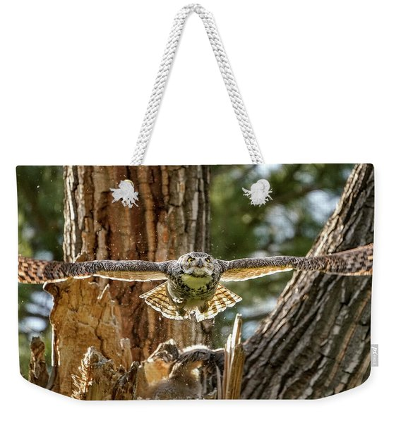Momma Great Horned Owl Blasting Out Of The Nest Weekender Tote Bag