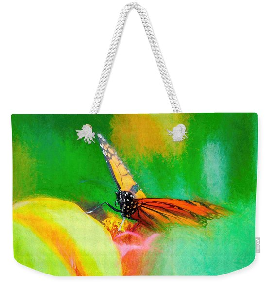 Weekender Tote Bag featuring the photograph Monarch Butterfly Beautiful Smudge by Don Northup