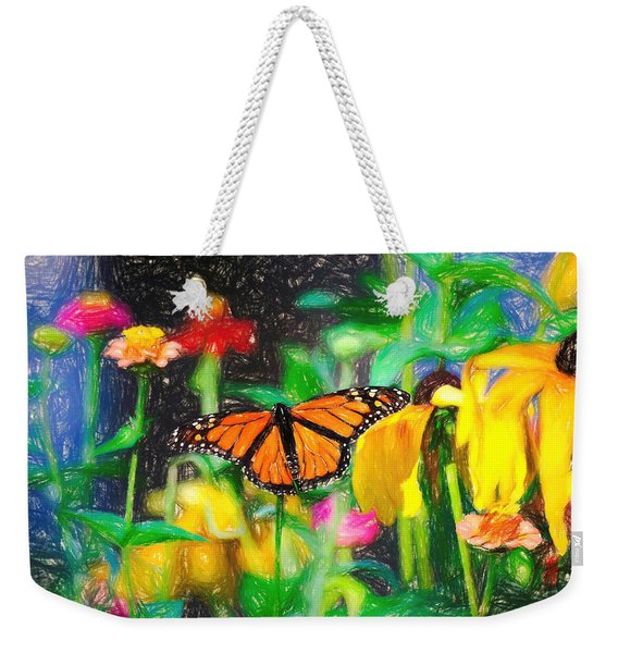 Weekender Tote Bag featuring the photograph Monarch Butterfly Colored Pencil by Don Northup