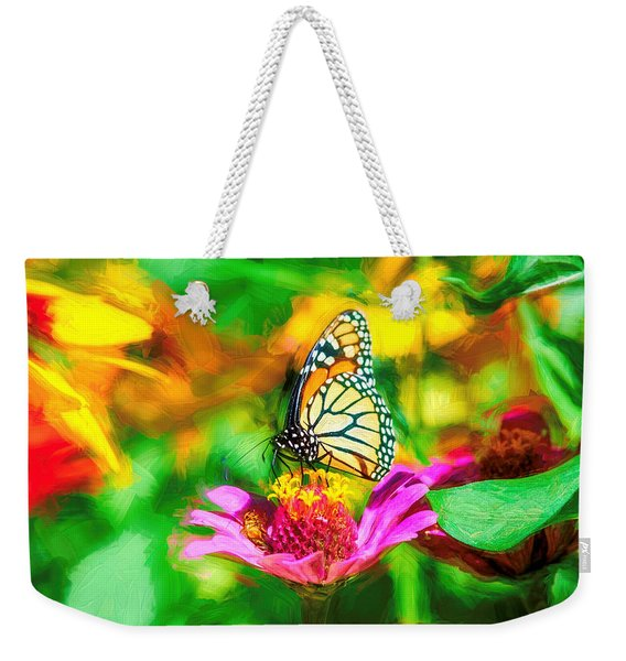 Weekender Tote Bag featuring the photograph Monarch Butterfly Impasto Colorful by Don Northup