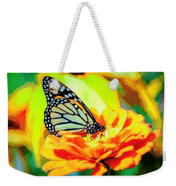 Weekender Tote Bag featuring the photograph Monarch Butterfly Van Gogh Style by Don Northup