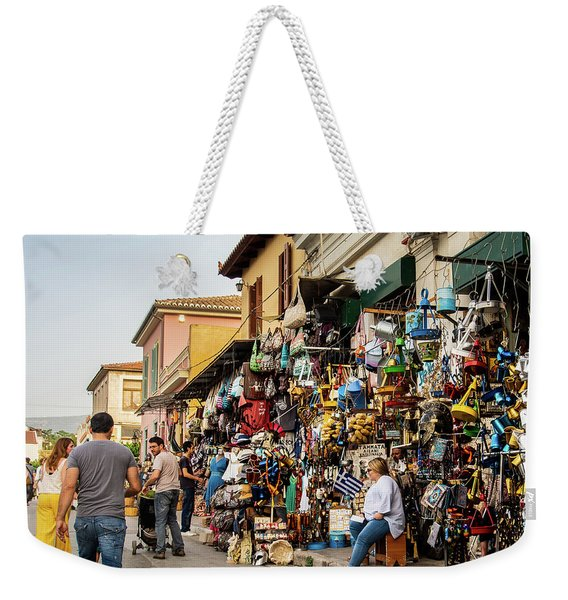 Weekender Tote Bag featuring the photograph Monastiraki  Colours by Juan Contreras