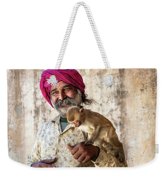 Weekender Tote Bag featuring the photograph Monkey Temple by Robin Zygelman