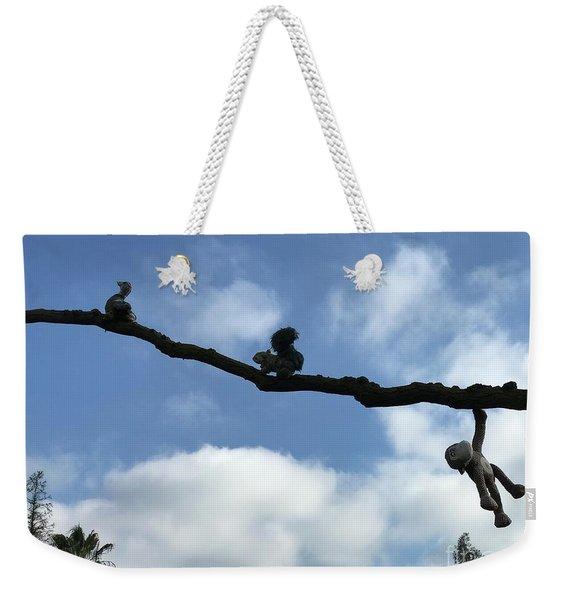 Monkey On Blue Weekender Tote Bag