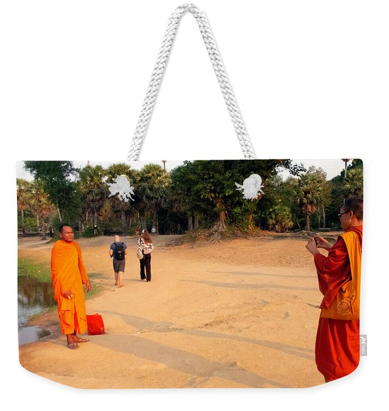 Monks At Ankgor Wat, Cambodia Weekender Tote Bag