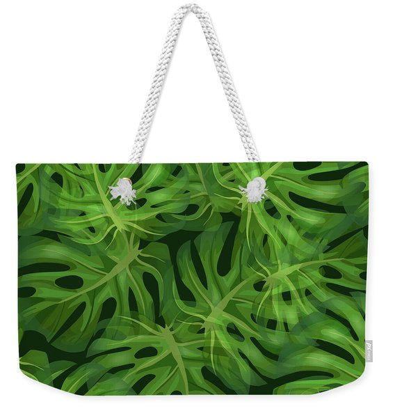Monstera Leaf Pattern 1 - Tropical Leaf Pattern - Dark Green - Tropical, Botanical Pattern Design Weekender Tote Bag
