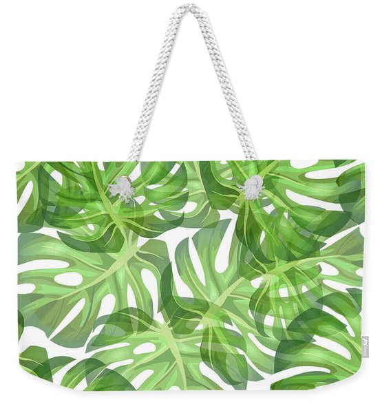 Monstera Leaf Pattern 2 - Tropical Leaf Pattern - Dark Green - Tropical, Botanical Pattern Design Weekender Tote Bag