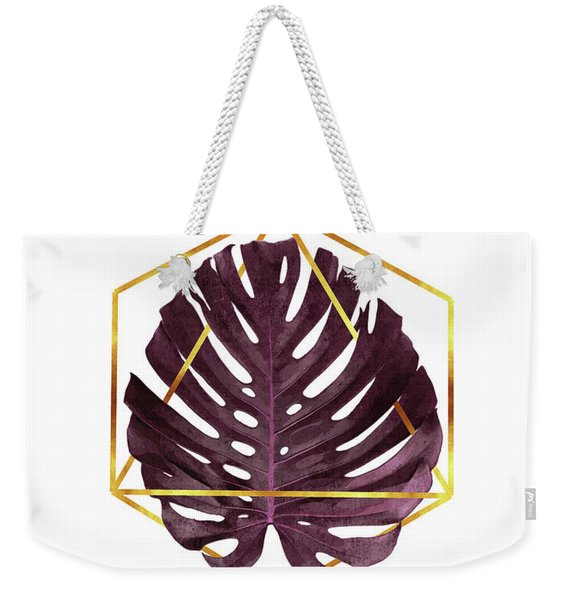 Monstera Leaf Pattern 2 - Tropical Leaf Pattern - Purple - Gold Geometric Shape - Modern, Minimal Weekender Tote Bag