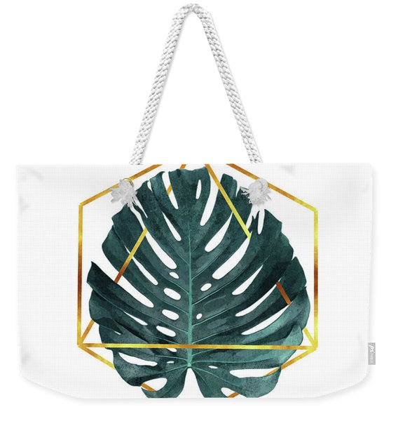 Monstera Leaf Pattern 3 - Tropical Leaf Pattern - Blue, Navy- Gold Geometric Shape - Modern, Minimal Weekender Tote Bag