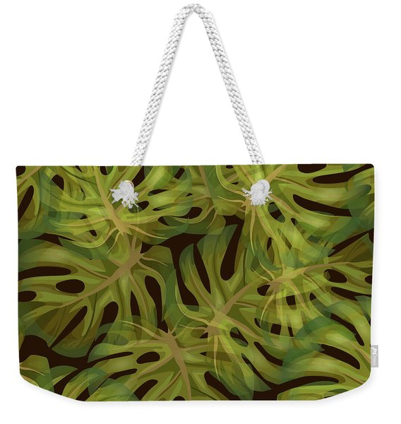 Monstera Leaf Pattern 3 - Tropical Leaf Pattern - Dark Green - Tropical, Botanical Pattern Design Weekender Tote Bag