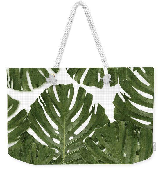 Monstera Leaf Pattern - Green - Tropical, Botanical Design - Modern, Minimal Decor Weekender Tote Bag