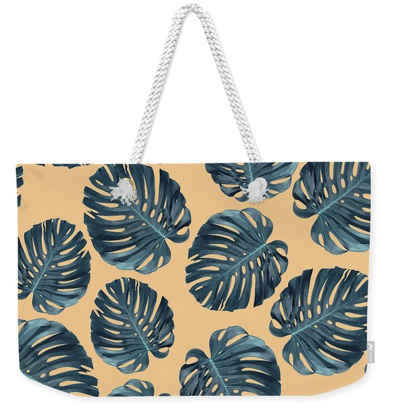 Monstera Leaf Pattern - Tropical Leaf Pattern - Blue, Peach - Tropical, Botanical - Modern, Minimal Weekender Tote Bag