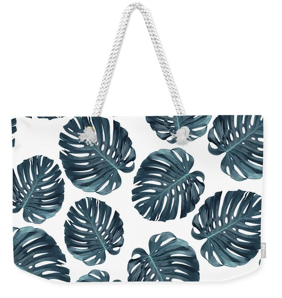 Monstera Leaf Pattern - Tropical Leaf Pattern - Blue - Tropical, Botanical - Modern, Minimal Decor 1 Weekender Tote Bag