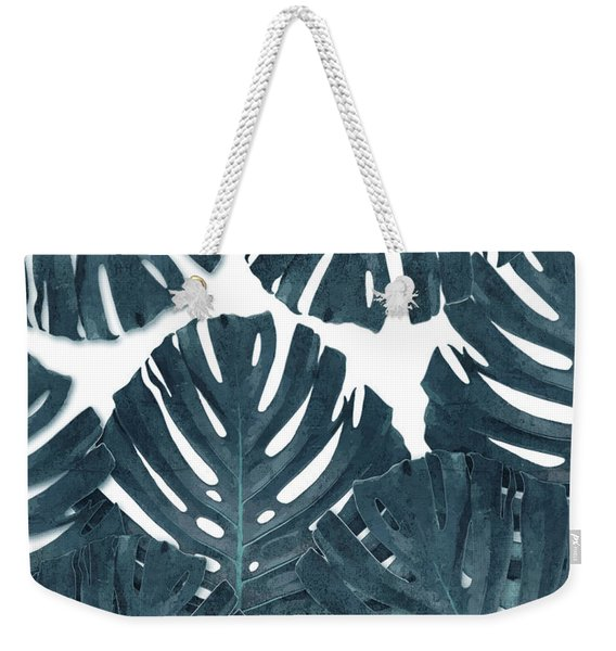Monstera Leaf Pattern - Tropical Leaf Pattern - Blue - Tropical, Botanical - Modern, Minimal Decor Weekender Tote Bag