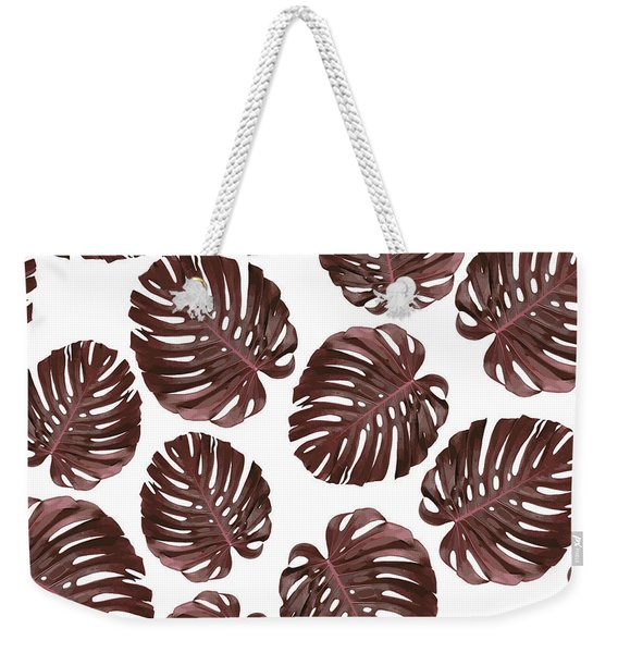 Monstera Leaf Pattern - Tropical Leaf Pattern - Brown, Red - Tropical, Botanical - Modern, Minimal Weekender Tote Bag