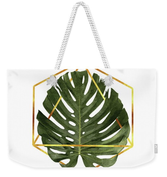 Monstera Leaf Pattern - Tropical Leaf Pattern - Green - Gold Geometric Shape - Modern, Minimal Weekender Tote Bag