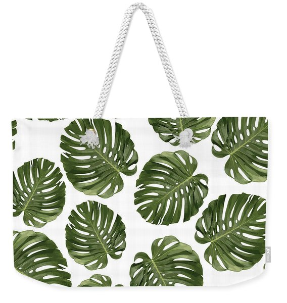 Monstera Leaf Pattern - Tropical Leaf Pattern - Green - Tropical, Botanical - Modern, Minimal - 1 Weekender Tote Bag
