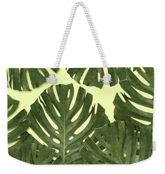 Monstera Leaf Pattern - Tropical Leaf Pattern - Green - Tropical, Botanical - Modern, Minimal Decor Weekender Tote Bag