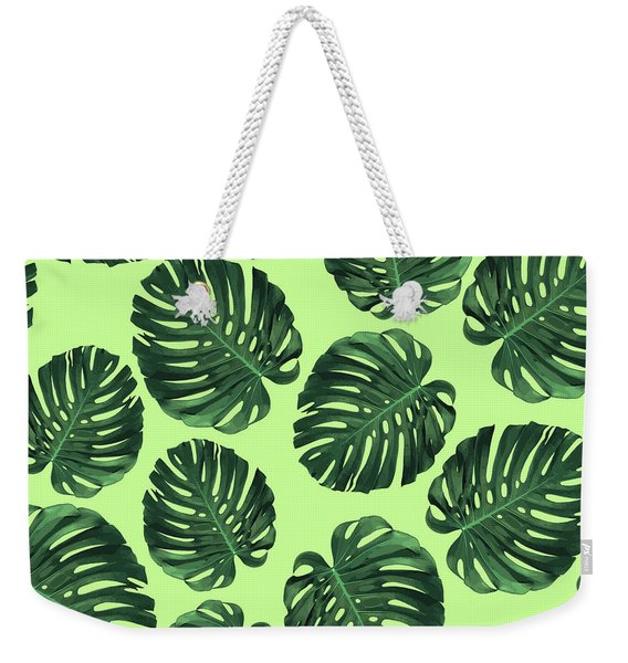 Monstera Leaf Pattern - Tropical Leaf Pattern - Green - Tropical, Botanical - Modern, Minimal Design Weekender Tote Bag