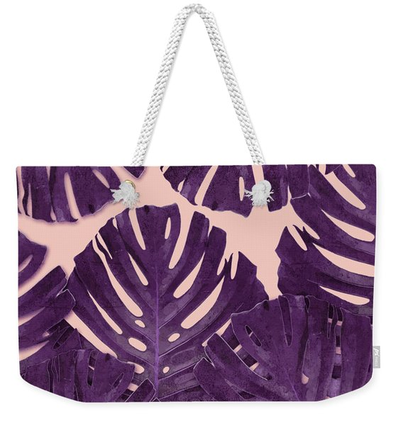 Monstera Leaf Pattern - Tropical Leaf Pattern - Purple - Tropical, Botanical - Modern, Minimal Decor Weekender Tote Bag