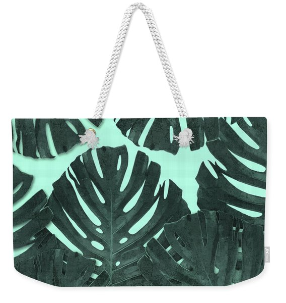 Monstera Leaf Pattern - Tropical Leaf - Teal - Tropical, Botanical - Modern, Minimal Decor Weekender Tote Bag
