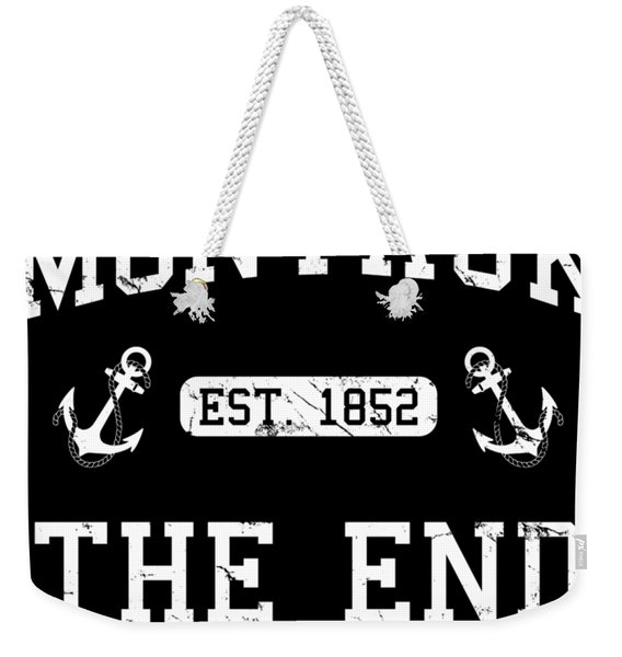 Weekender Tote Bag featuring the digital art Montauk Established 1852 by Flippin Sweet Gear
