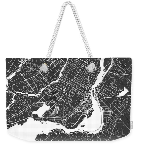 Montreal Map Black And White Weekender Tote Bag