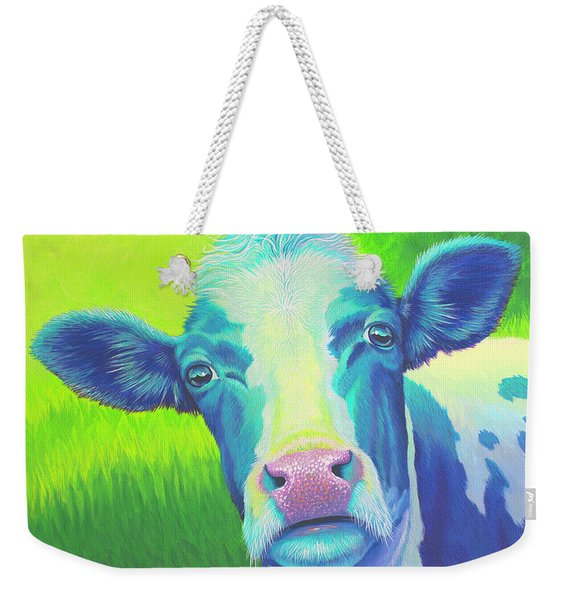 Moo Now Blue Cow Weekender Tote Bag