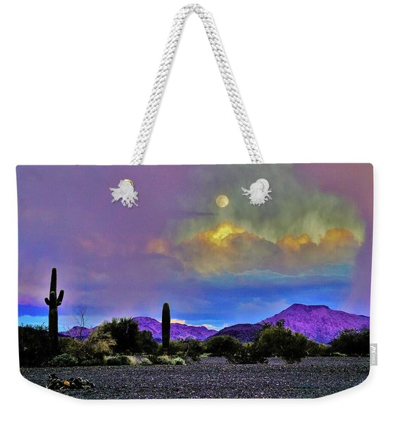 Moon At Sunset In The Desert Weekender Tote Bag