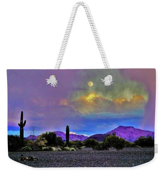 Moon At Sunset In The Desert Weekender Tote Bag