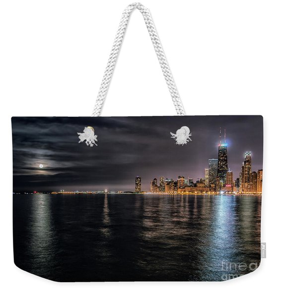 Moon Over Lake Michigan Weekender Tote Bag