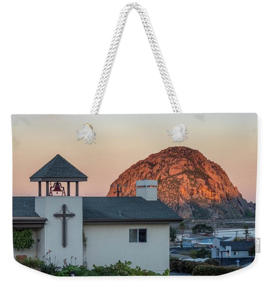 Moonset Above Morro Rock Weekender Tote Bag