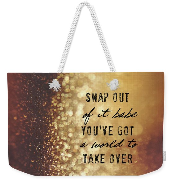 Weekender Tote Bag featuring the photograph Moonstruck Quote by Jamart Photography
