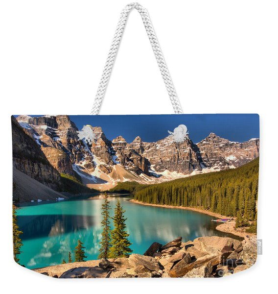 Moraine Lake Rockpile Reflections Weekender Tote Bag