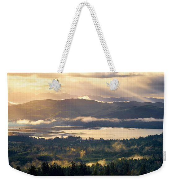 Weekender Tote Bag featuring the photograph Morning Glory by Whitney Goodey