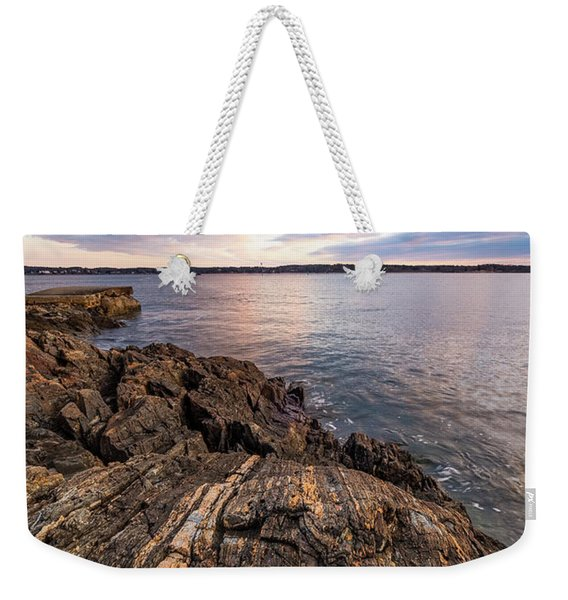 Weekender Tote Bag featuring the photograph Morning Light Over The Piscataqua River. by Jeff Sinon