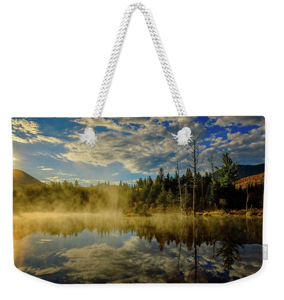 Weekender Tote Bag featuring the photograph Morning Mist, Wildlife Pond  by Jeff Sinon