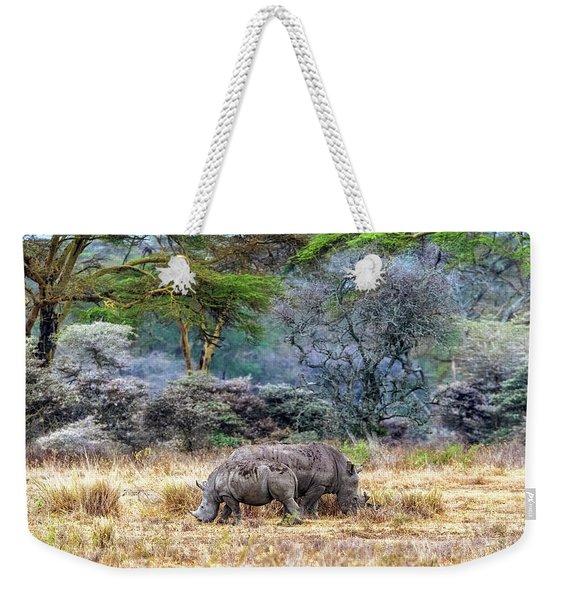 Mother And Baby White Rhinos In Lake Nakuru Weekender Tote Bag