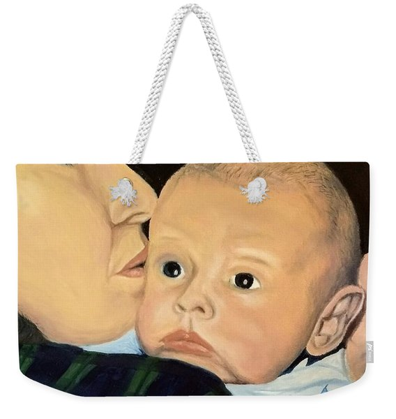 Weekender Tote Bag featuring the painting Mother And Son by Kevin Daly