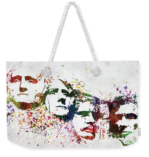 Mount Rushmore National Memorial Colorful Watercolor Weekender Tote Bag