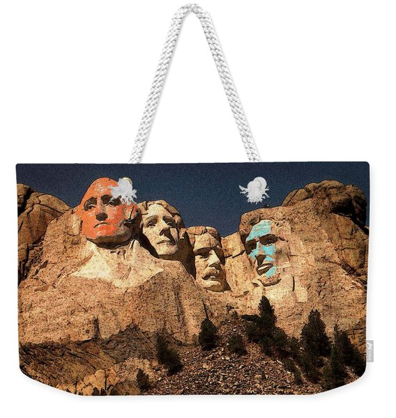 Mount Rushmore Red And Blue Drawing Weekender Tote Bag