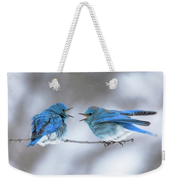Mountain Bluebirds On A Snowy Day Weekender Tote Bag