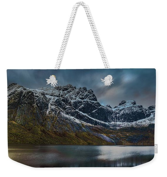 Mountain Lake In Norway On Lofoten Near Nusfjord Weekender Tote Bag