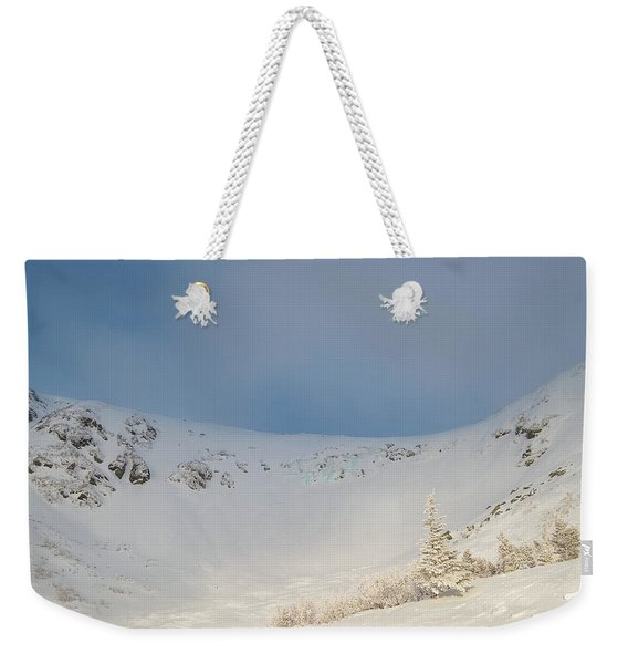 Weekender Tote Bag featuring the photograph Mountain Light, Tuckerman Ravine by Jeff Sinon