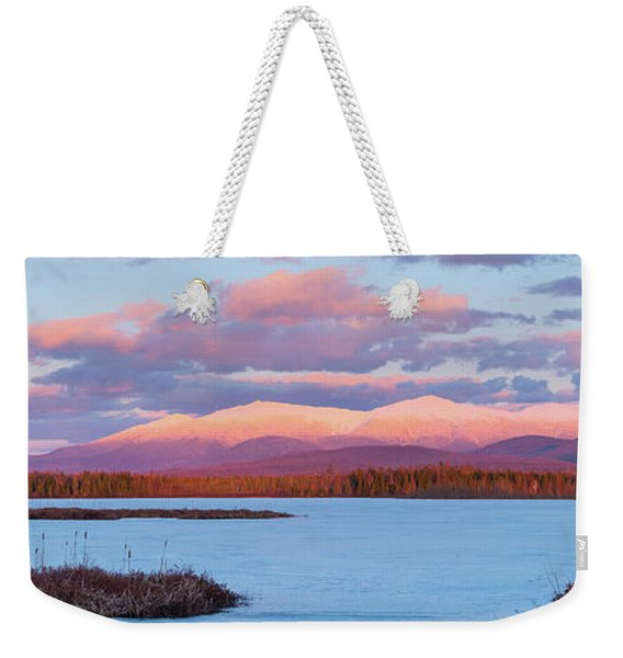 Weekender Tote Bag featuring the photograph Mountain Views Over Cherry Pond by Jeff Sinon