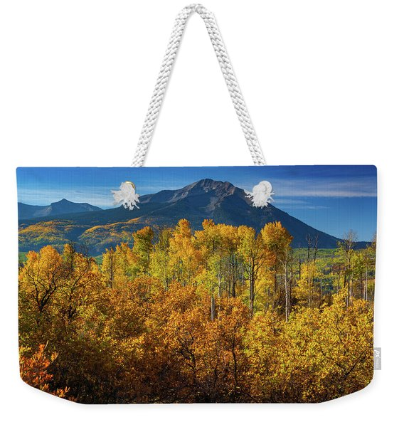 Weekender Tote Bag featuring the photograph Mountains And Aspen by John De Bord