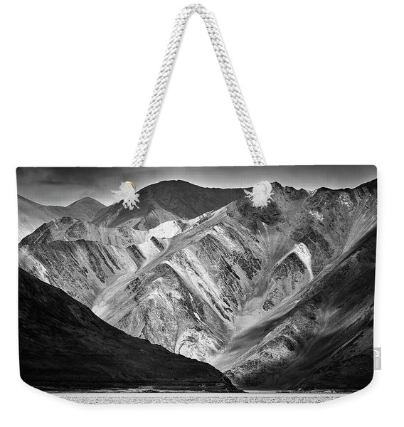 Weekender Tote Bag featuring the photograph Mountains At Pangong by Whitney Goodey