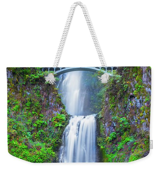 Weekender Tote Bag featuring the photograph Multnomah Falls by Dheeraj Mutha