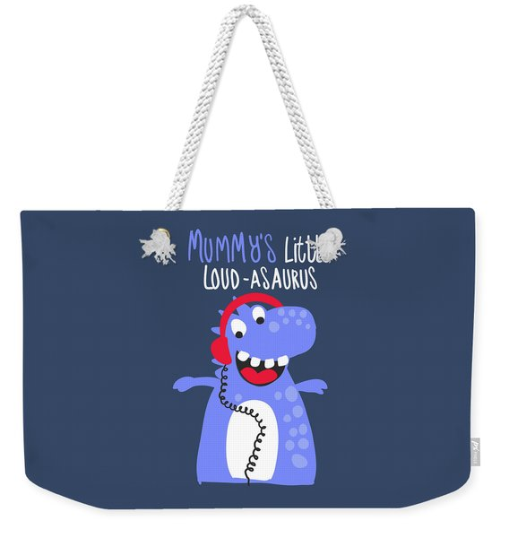 Mummy's Little Loud-asaurus - Baby Room Nursery Art Poster Print Weekender Tote Bag